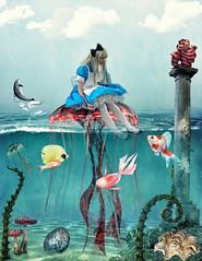 Alice in Waterworld (Swissrock-II) Tags: challenge aliceinwonderland water fish jellyfish dolphin mushrooms clouds photoshop photoart photomanipulation digitalart digital colors underwater deviantart andykobel