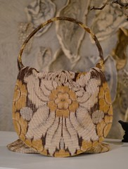 rumpelstilskin bag (Danny W. Mansmith) Tags: wwwdannymansmithetsycom handmadebag rumpelstilskin wearableart fiberart sewing gold yellow oneofakind functional drawingwiththesewingmachine dannymansmith burienwashington pockets