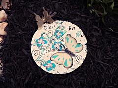 little garden blessing (MissyPenny) Tags: steppingstone stone decor decoration gardendecor garden butterfly usa bristolpennsylvania mulch