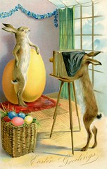 Easter Bunny Photography (Alan Mays) Tags: ephemera postcards greetingcards greetings cards eastercards paper printed easter holidays rabbits bunnies animals easterbunny easterrabbit easterbaskets eggs baskets anthropomorphic anthropomorphism photographers photography cameras viewcameras tripods windows photostudios posing spring seasons illustrations humor humorous funny comic surreal yellow blue green antique old vintage typefaces type typography fonts raphaeltucksons raphaeltuck tuck postcardpublishers