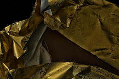 Who Dunnit - HMM (suzanne~ off for a while) Tags: crime macromondays steal thief theft chocolate wrap paper gold
