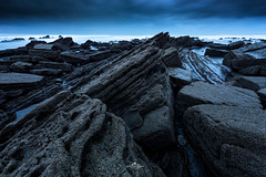 DeepBlue (Laurent BASTIDE Photographies) Tags: spain bilbao barrika pose longue sunset rock rocks rochers ocean blue deep plage beach danger landscape seascape dark night water waves flickrtravelaward drama mood biscaye temps time exposure canon