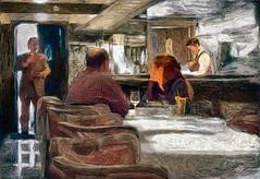 The Bar (Terry Pellmar) Tags: texture digitalart digitalpainting donut restaurant bar people