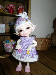 Crochet and embroidered dress and hat for Realpuki (littlegiftcove) Tags: realpuki embroidered dress hat handmade doll crochet toy kids bjd