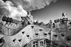 The Gaudi Rooftop (Tracey Whitefoot) Tags: tracey whitefoot 2017 barcelona casa mila la pedrera city architecture roof rooftop spain architect black white mono monochrome
