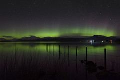 Lomond Aurora (Douglas Collinson) Tags: lochlomond nationalpark benlomond argyle stirling aurora northernlights nightphotography stars nikon reflection green red balmaha less gartocharn fence mountain snow scotland scottish touristboardvisitscotland