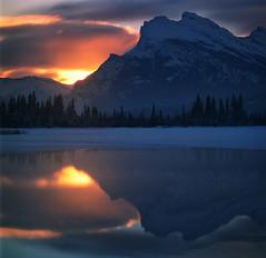 Rundle sunrise (Zeb Andrews) Tags: banff hasselblad filmisnotdead mediumformat alberta canada mtrundle sunrise 6x6 vermillionlakes reflection kodakektar100 landscape