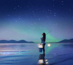 El dia que el Cielo se Caiga (Marina Gondra) Tags: sky night star milkyway aurora boreal starry starrynight dark fisher light beach water reflection selfportrait nikond750 fluor