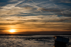 ferry sunset-0766 (red9r67) Tags: sunset ferry felixstowe mudflats clouds chemtrails orange glow evening boat space nature water quiet blue shimmer sun ship night estuary coast contrails trail river open beach sky contrail