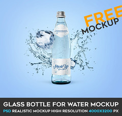 Glass Bottle for Water – Free PSD Mockup (Mockupfree.co) Tags: aqua bottle drink glass ice mineral water