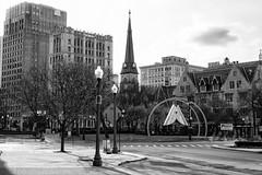 Grand Circus Park (DJ Wolfman) Tags: detroit detroitmichigan detroitmi detroitarchitecture details blackandwhite bw churches architecture michigan michiganfavorites grandcircuspark sony rx10