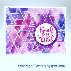 SSS Abstract Triangles Pink Card Front (teamclark@rocketmail.com) Tags: simon says stamp abstract triangles watercolor embossing verve sequins card cardmaking thank you