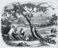 """Nell and her grandfather picnic in a pleasant field.  """"The Old Curiosity Shop"""" by Charles Dickens. London: Chapman and Hall, 1841. 1st ed. (lhboudreau) Tags: book books hardcover hardcovers hardcoverbook hardcoverbooks classicbook classicbooks classictale classicstory classicnovel novel story tale dickens charlesdickens 1841 firstedition chapmanhall chapmanandhall oldcuriosityshop theoldcuriosityshop curiosityshop nelltrent nelly nell littlenell littlenelly bookart antiquebook antiquarianbook illustration art etching engraving grandfather georgecattermole hablotkbrowne hkbrowne picnic field tree trees cows outskirtsoflondon pleasantfield pastoral pasture"""