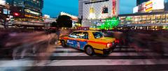 Halt (Luis Montemayor) Tags: japan japon tokyo taxi shibuya shibuyacross people gente street calle longexposure night noche buildings edificios