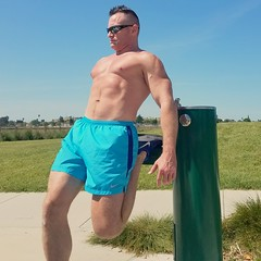 Stretching (ddman_70) Tags: shirtless muscle running stretching outdoors pecs abs