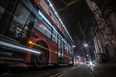 London Bus (ScottSimPhotography) Tags: london bus transport night nightscape evening dark street travel visit uk city cityscape england britain movement lightstream lights londonbus perspective low wideangle sony sonya6000 rokinon