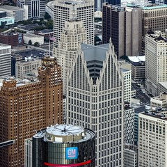 Rooftops of Detroit (Notkalvin) Tags: roof rooftop detroit rencen renaissancecenter notkalvin mikekline notkalvinphotography fromabove fromtheair skyline skyscrapers michigan