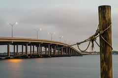 IMGP3452 (scranton_strangler) Tags: longexposure dawn florida river rope knot post bridge