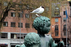 every statue has its bird (overthemoon) Tags: norway norvège norwegen oslo urban art townhallsquare radhus statue child bird building brick utata:project=tw574