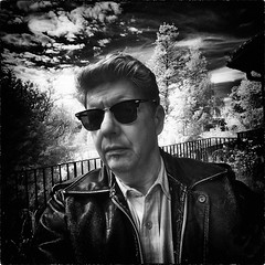 SELF 1 (Nigel Bewley) Tags: sky blackandwhite cloud selfportrait leather clouds self cool canon20d may infrared rockabilly rayban digitalinfrared artphotography canonefs1022mmf3545 creativephotography 830nm unlimitedphotos advancedcameraservices nigelbewley may2013