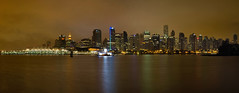Vancouver BC Canada Downtown Skyline (JPLPhotographyPDX) Tags: park city sea sky panorama canada reflection water rain skyline night vancouver creek buildings lights evening bay downtown cityscape bc waterfront skyscrapers cloudy harbour scenic columbia seawall stanley british coal condominiums false