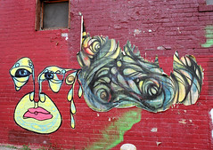 The Face of Graffiti (Georgie_grrl) Tags: friends red streetart toronto ontario abstract graffiti faces burgundy ripped photographers social funky pentaxk1000 torn colourful outing rikenon12828mm torontophotowalks topwbdg
