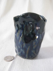 Drip cup, high side (mikkashar) Tags: cup ceramic waterdrop crafts clay pottery pinchpot darkstoneware madebymikkashar