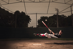 Matrix Baseball (andrew_austin) Tags: new red portrait usa brown hot color cute green art me sports field matrix socks digital america self canon photography photo uniform baseball time bees alien fine bat floating levitation player falling dirt commercial 5d swinging past mamal mark2
