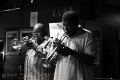 David Greene and John Douglas (Juan N Only) Tags: music monochrome blackwhite michigan detroit livemusic may trumpet jazz nightclub grayscale bebop berts trumpeter johndouglas hardbop davidgreene 2013 criticismwelcome bertsmarketplace juannonly