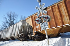 Boxcars (cmu chem prof) Tags: railroad winter snow train michigan mountpleasant bluesky railroadcrossing freighttrain broadwaystreet isabellacounty