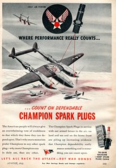 1944 Champion Spark Plugs P-38 WWII Advertising Popular Science August 1944 (SenseiAlan) Tags: advertising wwii champion august science popular spark plugs 1944 p38