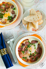 Tuscan Baked Eggs (Foodie Baker) Tags: italy food cooking cheese breakfast tomato recipe cuisine baking italian eating tomatoes egg cook sausage eat tuscany meal sausages eggs brunch recipes bake parmesan baked tuscan