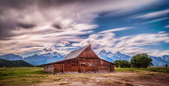 The Famed T.A. Moulton Barn (Samantha Decker) Tags: longexposure bw mountains clouds bravo nd wyoming hdr highdynamicrange jacksonhole wy grandtetonnationalpark gtnp mormonrow neutraldensity canonef24105mmf4lisusm canoneos6d topazadjust samanthadecker tamoultonbarn thomasalmamoulton adobephotoshopcs6
