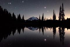 Mount Rainier Midnight Reflection (jeremyjonkman) Tags: park sky reflection nature night canon stars photography eos star washington mark jeremy mount national ii rainier midnight 5d jonkman