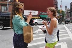 cupcake photo  op (omoo) Tags: newyorkcity girls cupcakes westvillage streetscene magnolia girlfriends prettygirls greenwichvillage magnoliacupcakes cellphonephotography girlwithcellphone dscn4318 bleeckerstreetandseventhavenuesouth cupcakeeatingphotoop