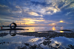 the shells and reflections (Thunderbolt_TW) Tags: sunset sea sky sun reflection water windmill canon landscape taiwan     windturbine  changhua       hsienhsi   changpingindustryarea