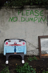 Please No Dumping (id-iom) Tags: road street urban man art face sign shirt graffiti eyes shoes please no tie gerald vandalism trousers dumping idiom dumpin