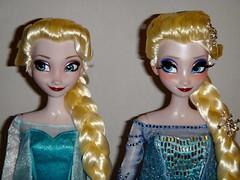 Singing Elsa vs LE 100 Elsa 17'' Dolls - Gowns Closed - Portrait Front View (drj1828) Tags: uk standing frozen us singing harrods special sidebyside purchase limitededition elsa disneystore 17inch snowqueen posable 2013 dollset deboxed le100