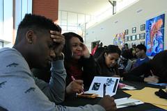"MLK Event (40) (GeorgiaGwinnettCollege) Tags: light memorial listening studentcenter thirdfloor eyelevel studentartwork ebuilding ""female aroundatable malestudentwriting smiling"" femalesandmales duringthemlkevent2013 studentssittingatatable studentsatthemlkevent thirdfloorstudentloungeinuse"