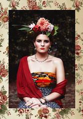 Frida Obsession (saluteyoursolution) Tags: flowers portrait flower color nature colors fashion canon vintage design spring dress bokeh bosnia 85mm frida expressive conceptual 18 softbox emotive kahlo 6d strobist 60x90
