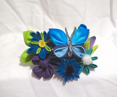 blue_scraps_barrette_by_eruwaedhielelleth-d6t3qs9 (EruwaedhielElleth) Tags: flowers hair japanese pin clip maiko ornament fabric hana geisha accessories folded tsumami kanzashi zaiku imlothmelui