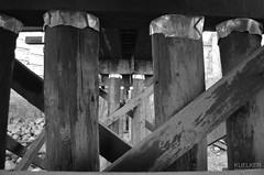 Pillars (Kuelker Photography) Tags: wood bridge canada abstract beach water river coast canal support nikon crossing bc britishcolumbia piers shoreline rocky overpass shore multiple coastline 1855 nikkor pylons distance fraserriver channel waterway newwestminster trainbridge greyscale supports dockyards portroyal metrovancouver trainoverpass greatervancouver beautifulbritishcolumbia annacisisland d5100 insidevancouver kuelker kuelkerphotography