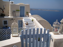 Santorini (VERUSHKA4) Tags: street door travel blue light sea summer sky white house plant detail art window water wall architecture stairs yard canon fence table island town iron europe cityscape metallic object decoration perspective august santorini greece decor ija farole
