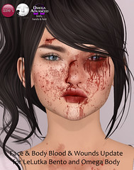 Face & Body Blood & Wounds Update (Izzie Button (Izzie's)) Tags: lelutka vista bento sl update omega blood wounds applier izzies