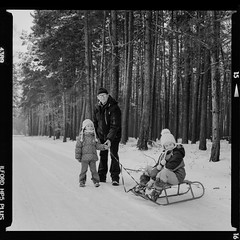 Bronica SQ-A-016-010 (michal kusz) Tags: bronica sqa ilford hp5 ddx v600 film medium format 120 squere poland monochromatic trees winter tree monochrome sledge forest family grandpa snow granddaughters