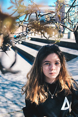 City (Ruby Nixon) Tags: portrait portraiture port natural light naturallight lighting sunlight harsh sun shine sunshine people models model subject blue sky girl female woman women man male men one person single young teens teenagers adults adult nature blossom foreground shooting through objects trees herbert art gallery university square