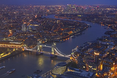 Grazie / Thank you (East London from The Shard, London, United Kingdom) (AndreaPucci) Tags: london uk night theviewfromtheshard towerbridge canarywharf east cityhall thames river andreapucci canoneos60