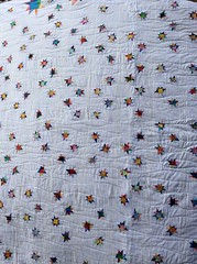 "Starry Starry White. 110"" x 94"" (tell tale threads) Tags: scrappy stars wonkystars white quilt"