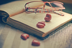 ♥♥♥ my big love for books (eggii) Tags: book books project quote hearts vintage mood evening calm time light home relaxing relax