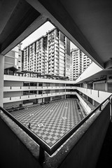 In a Corner (black and white) (BoXed_FisH) Tags: sony1635mmvariotessartfef4zaoss sonyzeiss1635f4oss architecture sel1635z singapore sony sonya7 sonyzeiss southeastasia wide wideangle sg blackandwhite bwgrey mono monotone monochrome bw archtitecture zeiss1635 rocher